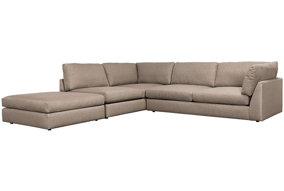 Harper Dark Taupe Fabric Left Bumper Sectional