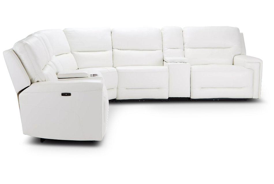 Porto White Lthr/vinyl Large Dual Power Sectional,  (1)