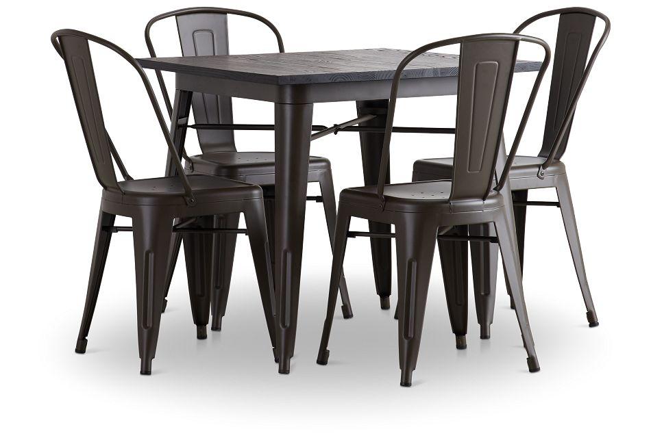 Harlow Dark Tone Square Table & 4 Metal Chairs,  (2)