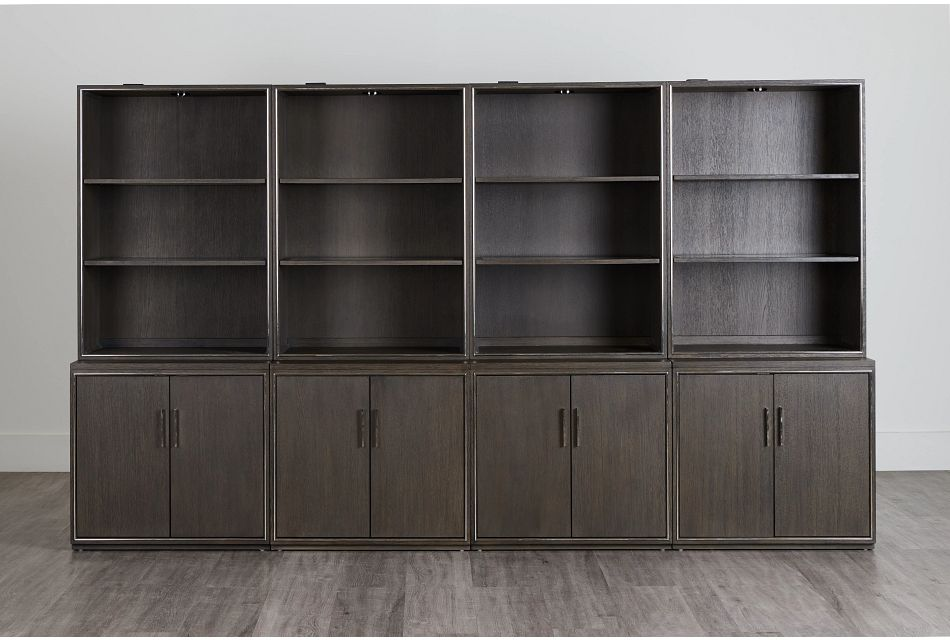 Highline Dark Tone Door Bookcase Wall,  (0)