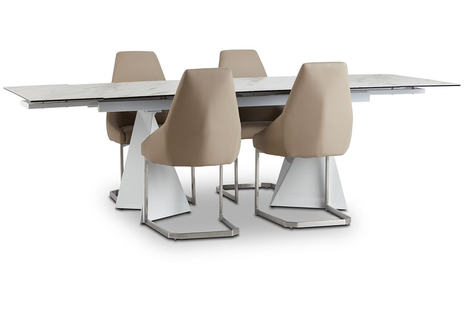 Monaco Taupe Ceramic Table & 4 Upholstered Chairs