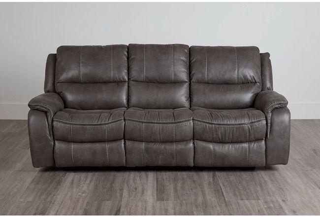 Dober Dark Gray Micro Reclining Sofa