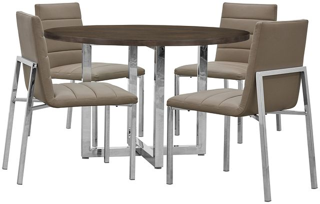 Amalfi Taupe Wood Round Table & 4 Upholstered Chairs (0)