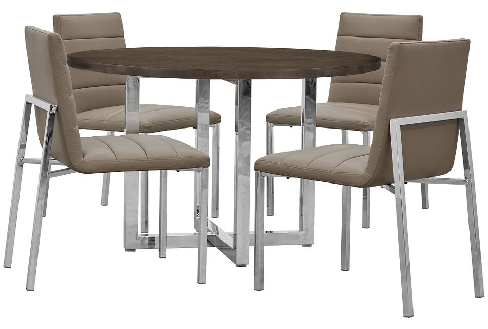 Amalfi Taupe Wood Round Table & 4 Upholstered Chairs