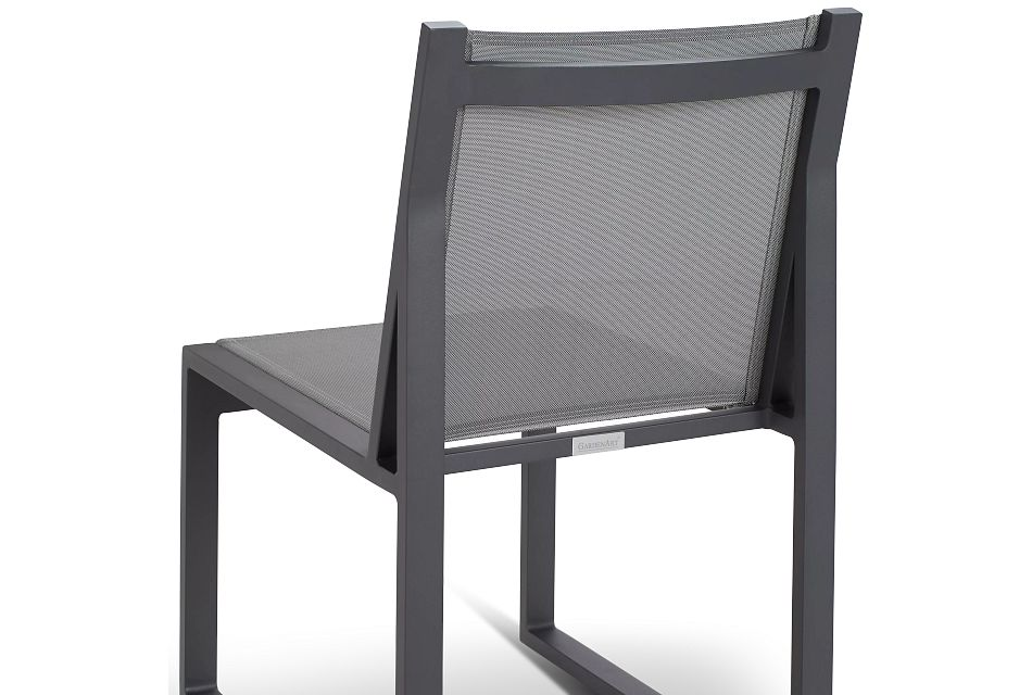 """Linear Dark Gray 110"""" Aluminum Table & 4 Sling Side Chairs"""
