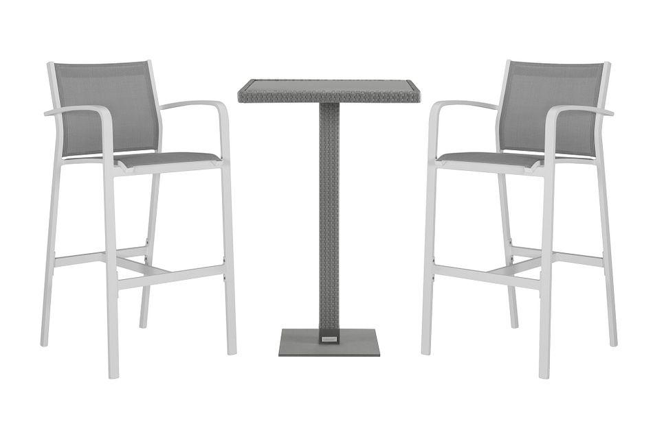 Lisbon Gray Pub Table & 2 Barstools
