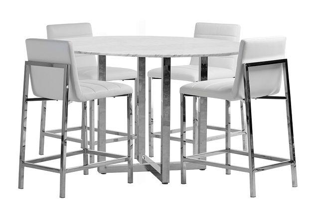 Amalfi White Marble High Table & 4 Upholstered Barstools