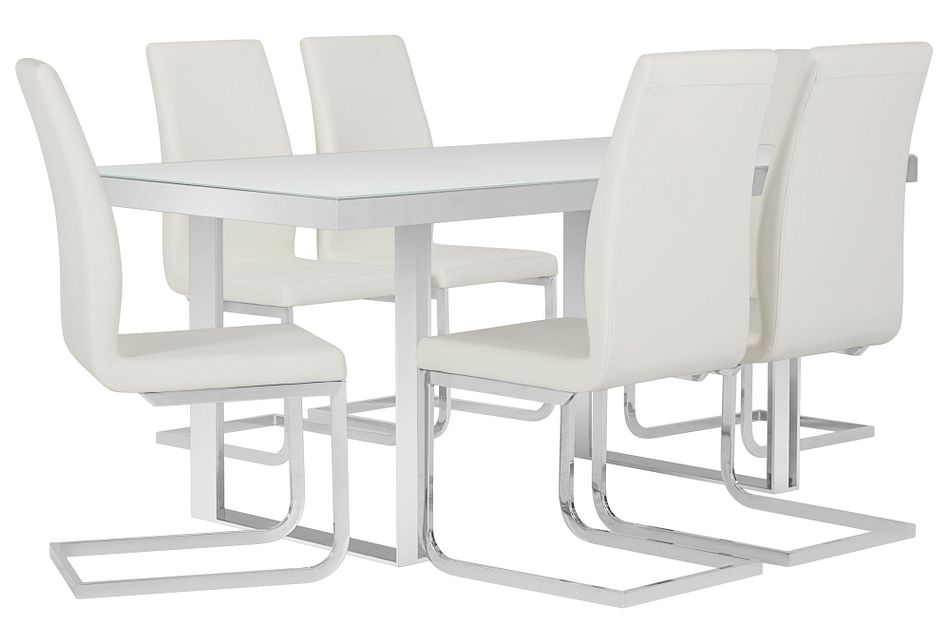 Harley White Glass Table & 4 Upholstered Chairs
