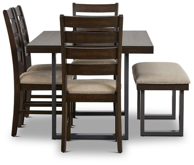Sawyer Dark Tone Rect Table, 4 Chairs & Bench (3)
