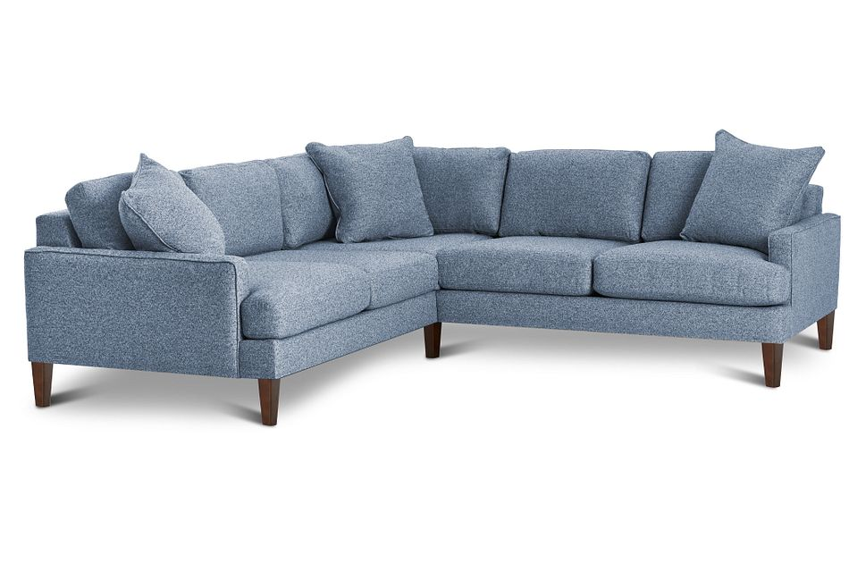 Morgan Blue Fabric Small Left 2-arm Sectional W/ Wood Legs
