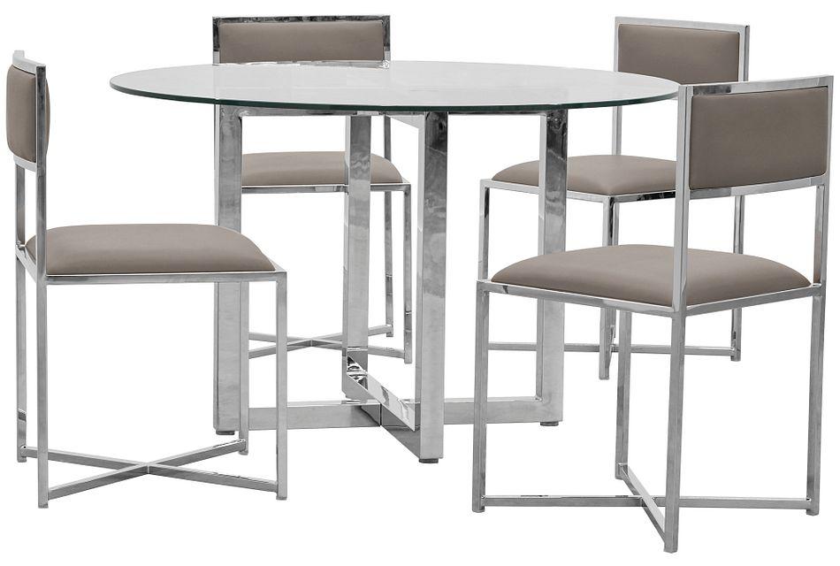 Amalfi Taupe Glass Round Table & 4 Metal Chairs