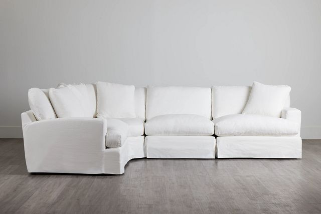 Delilah White Fabric Small Two-arm Sectional (2)
