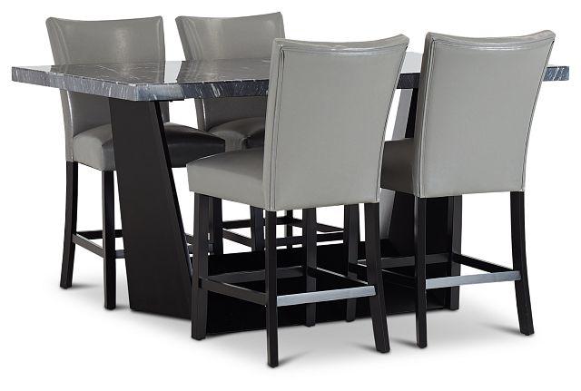 Auburn Dark Gray High Table & 4 Gray Upholstered Barstools (1)