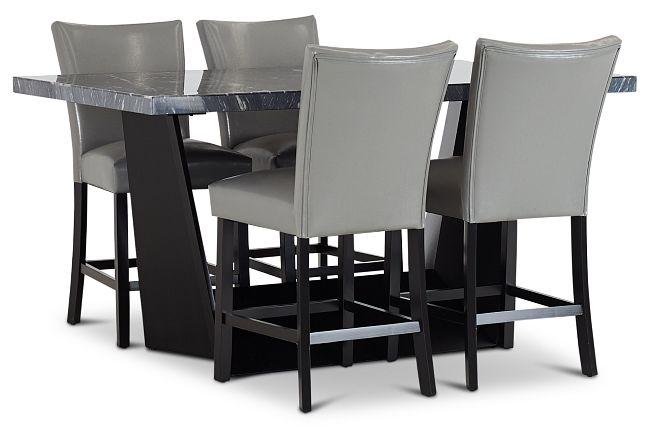 Auburn Dark Gray High Table & 4 Gray Upholstered Barstools