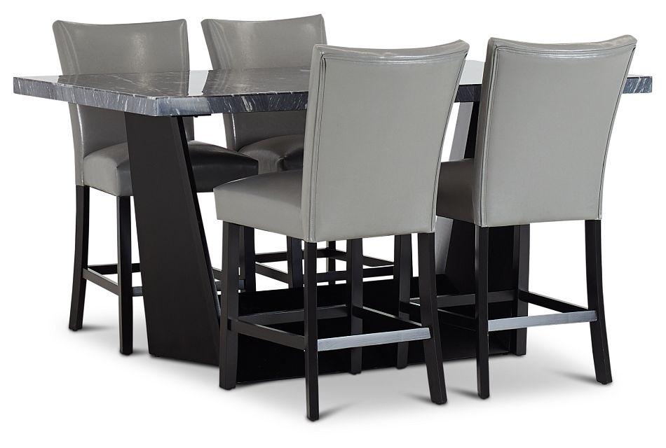 Auburn Dark Gray High Table & 4 Gray Upholstered Barstools, %%bed_Size%% (1)