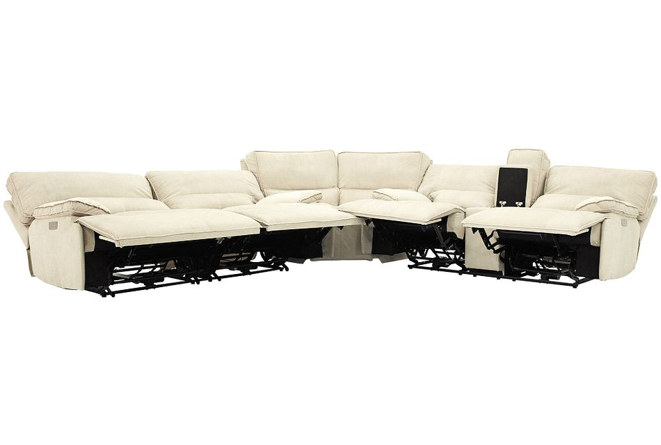 Jesse Light Beige Micro Two-arm Power Reclining Sectional
