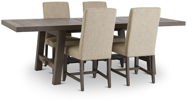 Taryn Gray Rect Table & 4 Upholstered Chairs (3)