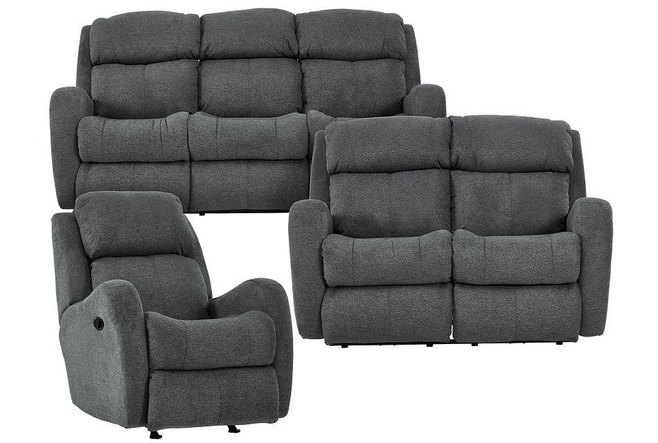 Finn Gray Fabric Manually Reclining Living Room