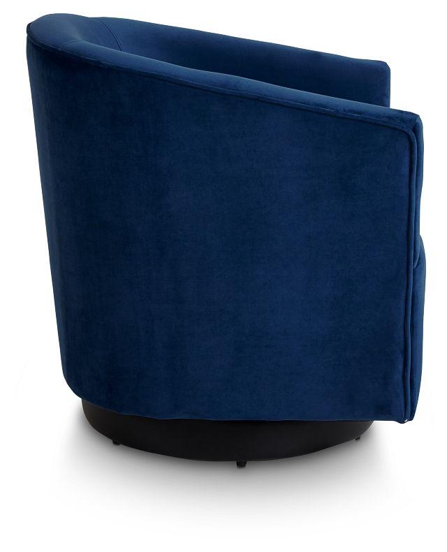 Charlotte Dark Blue Velvet Swivel Accent Chair (2)
