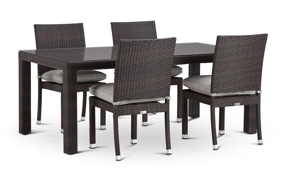 "Zen Gray 72"" Rectangular Table & 4 Chairs,  (0)"