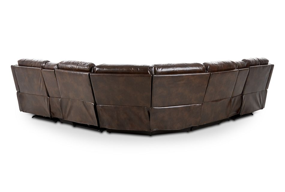 Hunter Dark Brown Micro Large Dual Power Reclining Two-arm Sectional