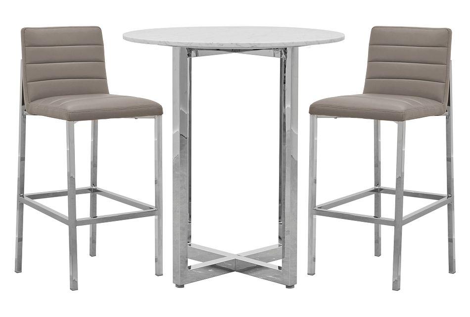 Amalfi Taupe Marble Pub Table & 2 Upholstered Barstools