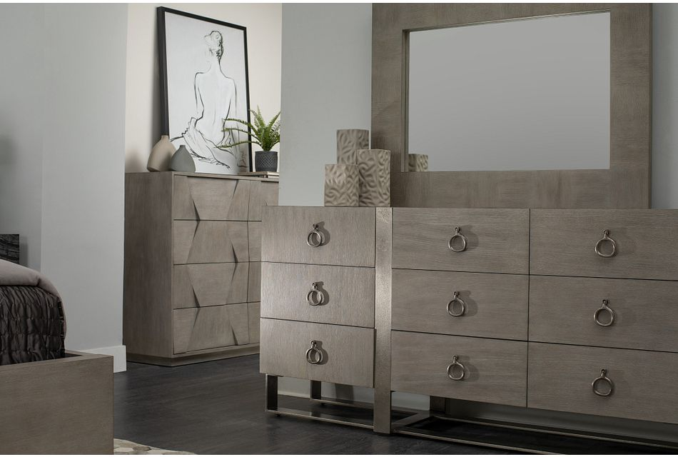 Linea Light Tone Dresser & Mirror