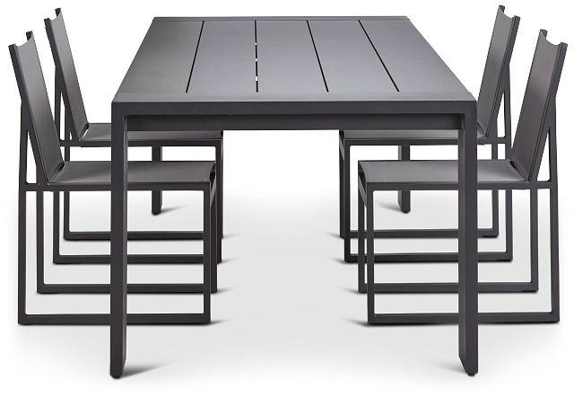 """Linear Dark Gray 110"""" Aluminum Table & 4 Sling Side Chairs (1)"""