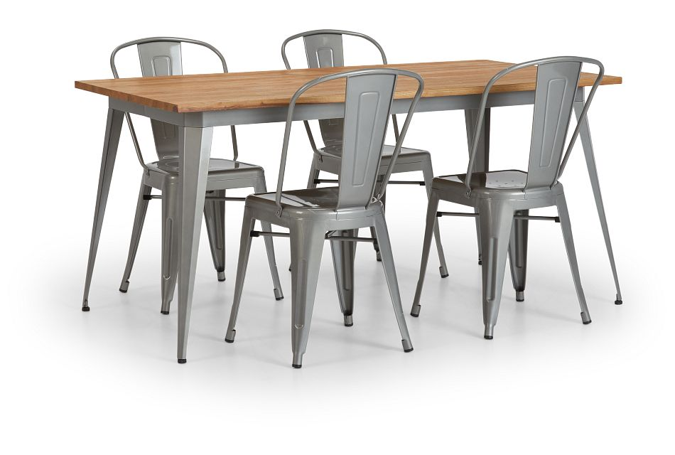 Huntley Light Tone Rect Table & 4 Metal Chairs,