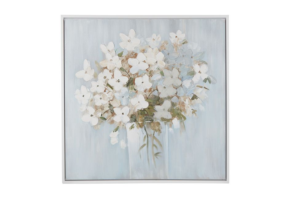 Flower Light Blue Framed Wall Art
