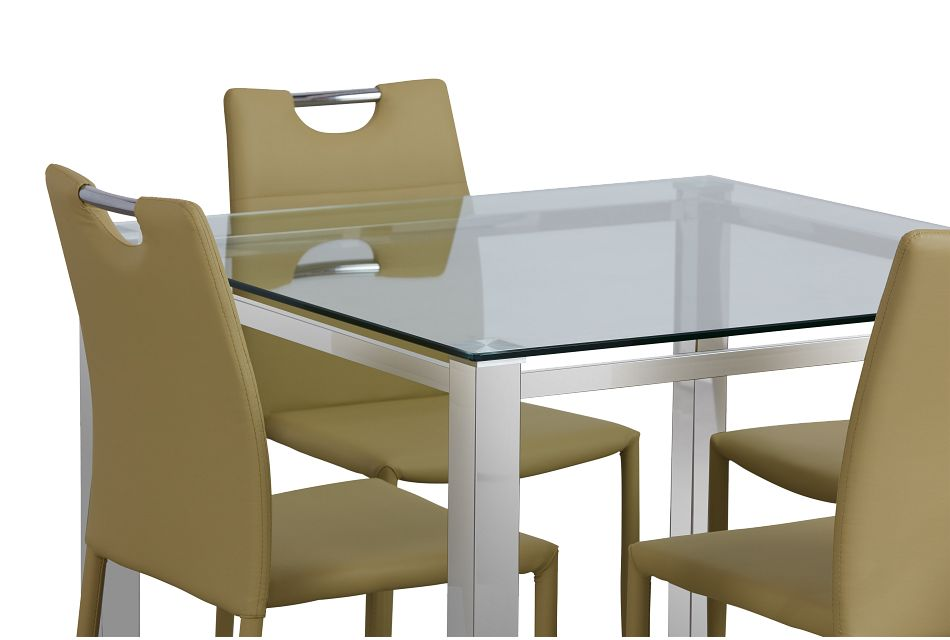Skyline Light Green Square Table & 4 Upholstered Chairs