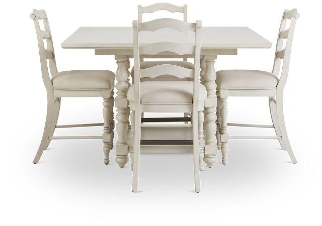 Savannah Ivory High Table & 4 Barstools (2)