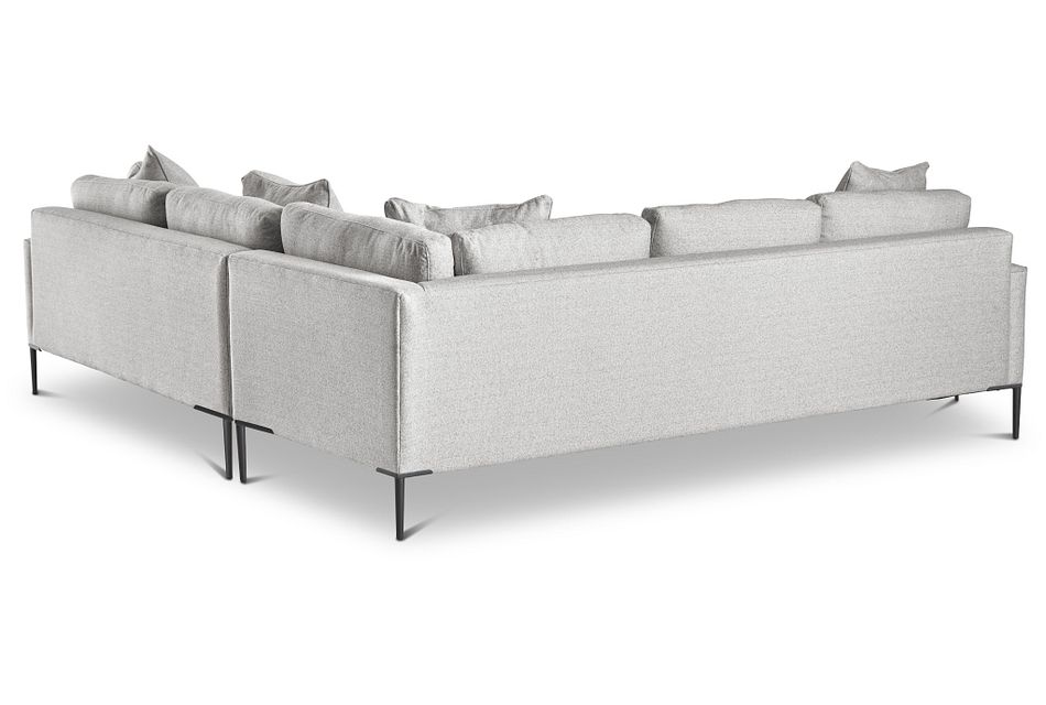 Morgan Light Gray Fabric Small Right 2-arm Sectional W/ Metal Legs