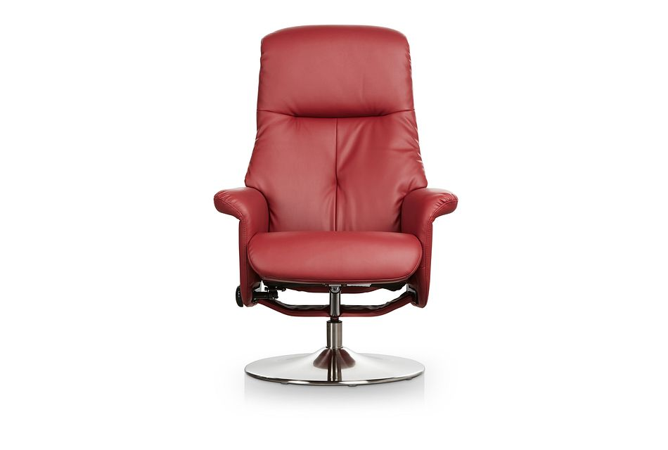 Evans Red Micro Recliner & Ottoman