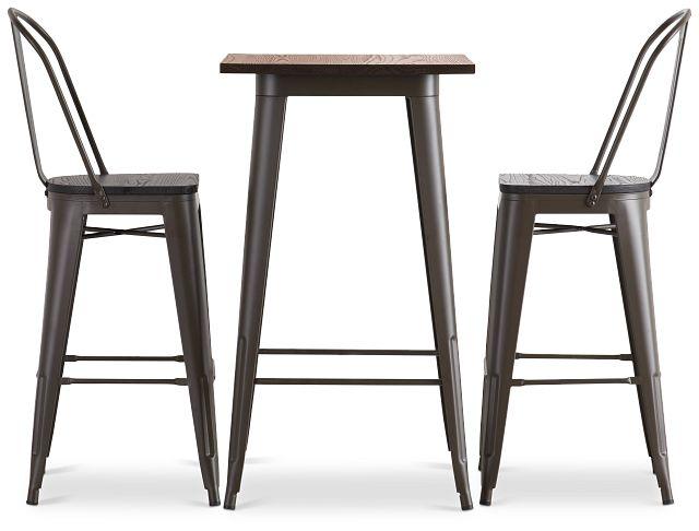 Harlow Dark Tone Pub Table & 2 Wood Barstools (2)