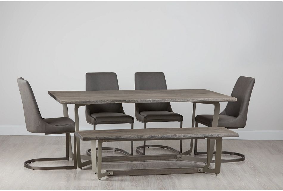 Berkeley Light Tone Uph Table, 4 Chairs & Bench