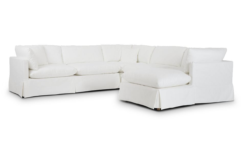 Raegan White Fabric Small Right Chaise Sectional,  (1)