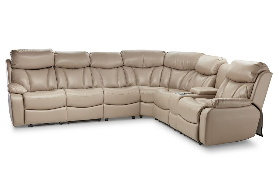 Dustin Beige Micro Large Right Console Love Reclining Sectional