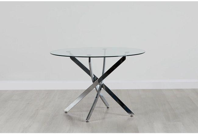 "Havana Glass 43"" Round Table W/chrome Legs"