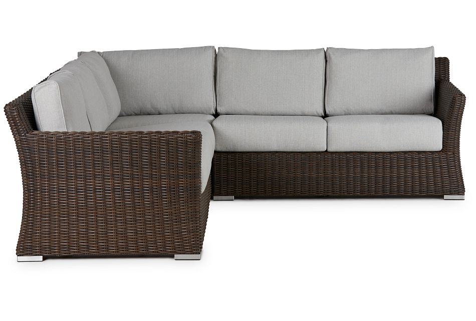 Southport Gray Woven Small Two-arm Sectional
