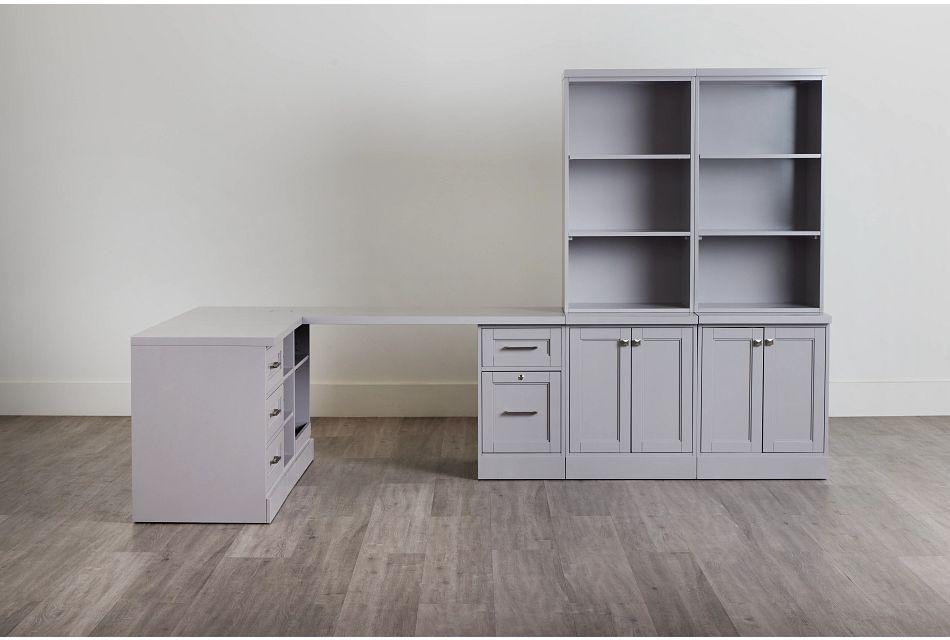 Newport Gray 5 Piece Desk,  (0)