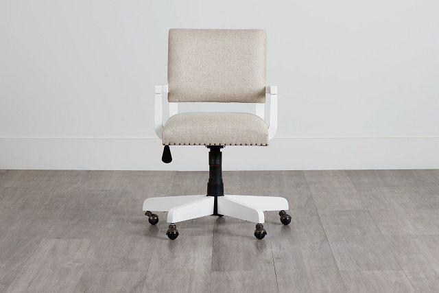 Newport Beige Wood Upholstered Desk Chair (0)
