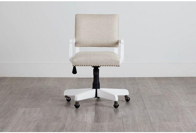 Newport Beige Wood Upholstered Desk Chair