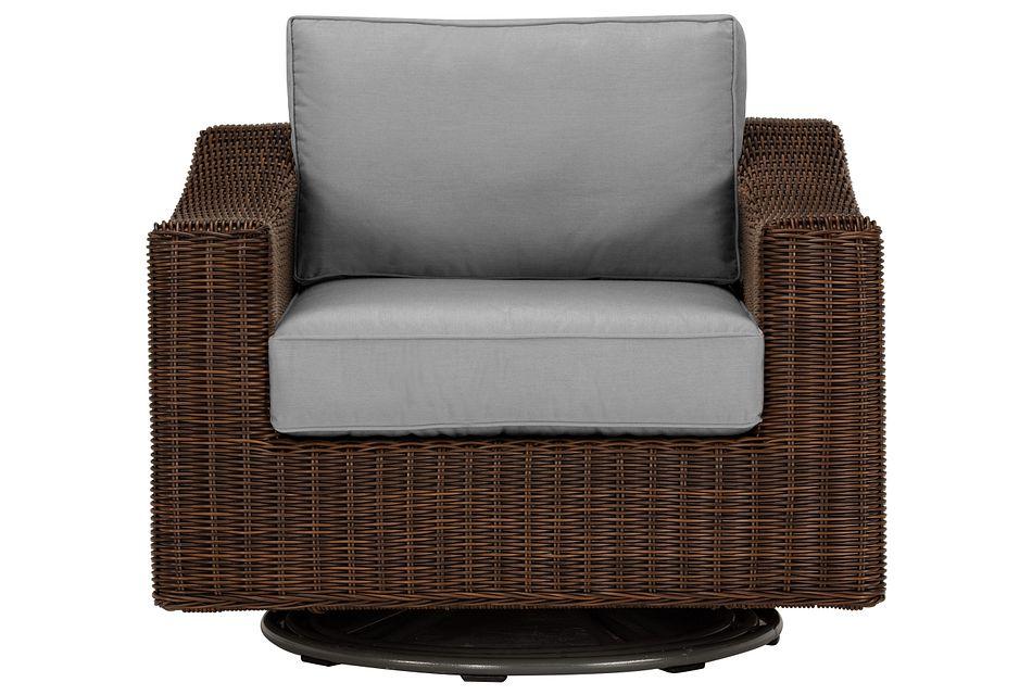 Canyon Dark Brown  Gray Swivel Chair