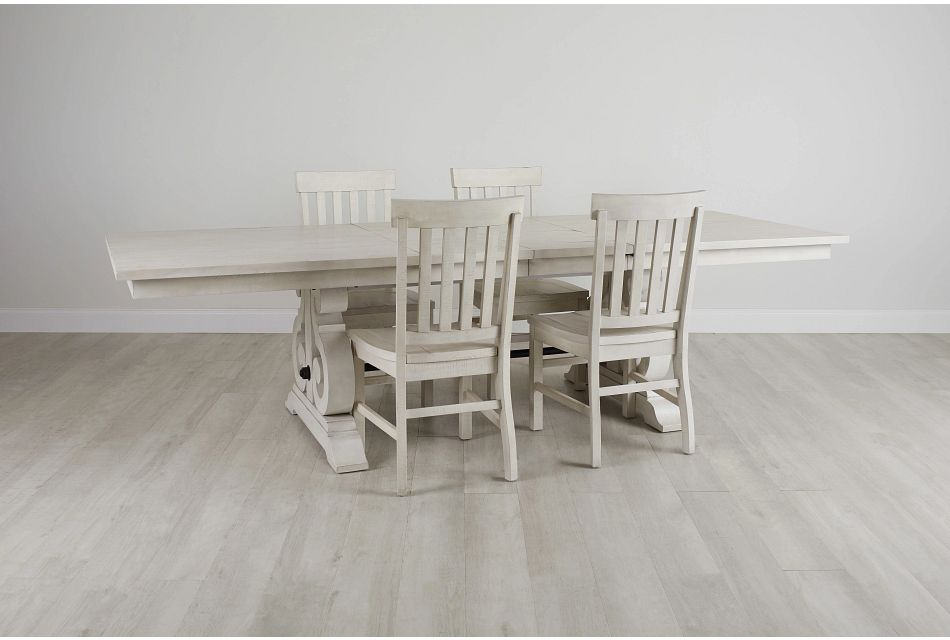 Sonoma Ivory Trestle Table & 4 Wood Chairs