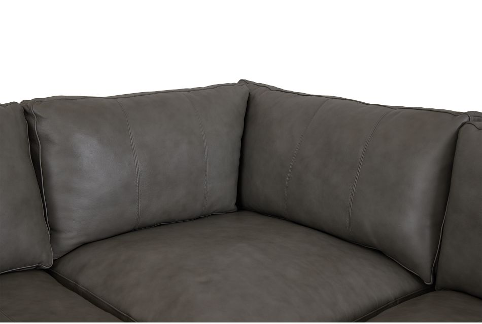 Dawkins Gray Leather Medium Right Chaise Sectional