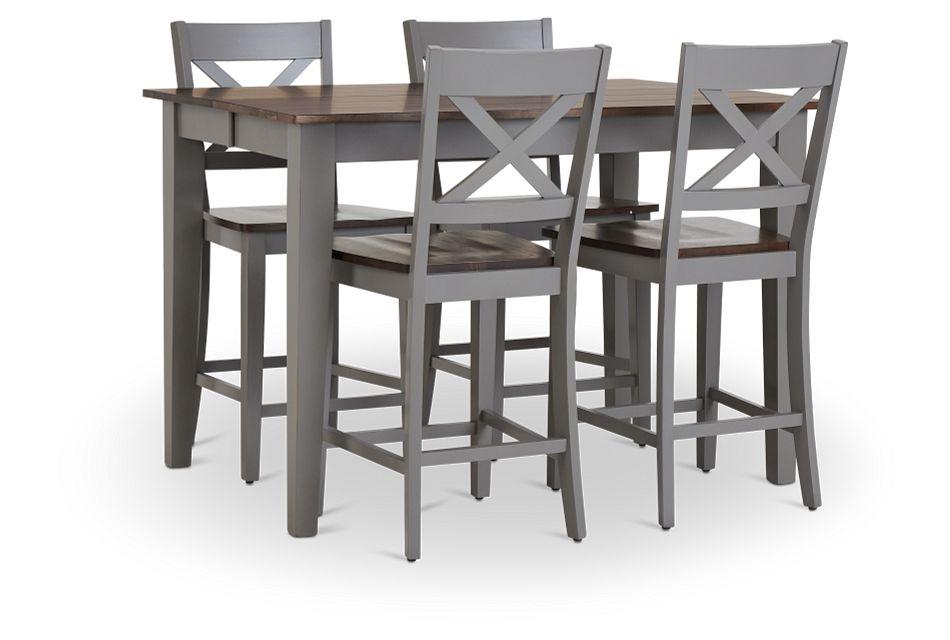 Sumter Gray High Table & 4 Barstools,  (1)