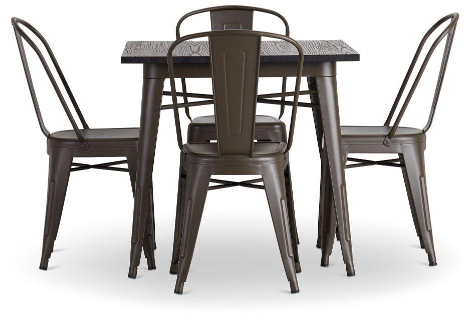 Harlow Dark Tone Square Table & 4 Metal Chairs,  (3)