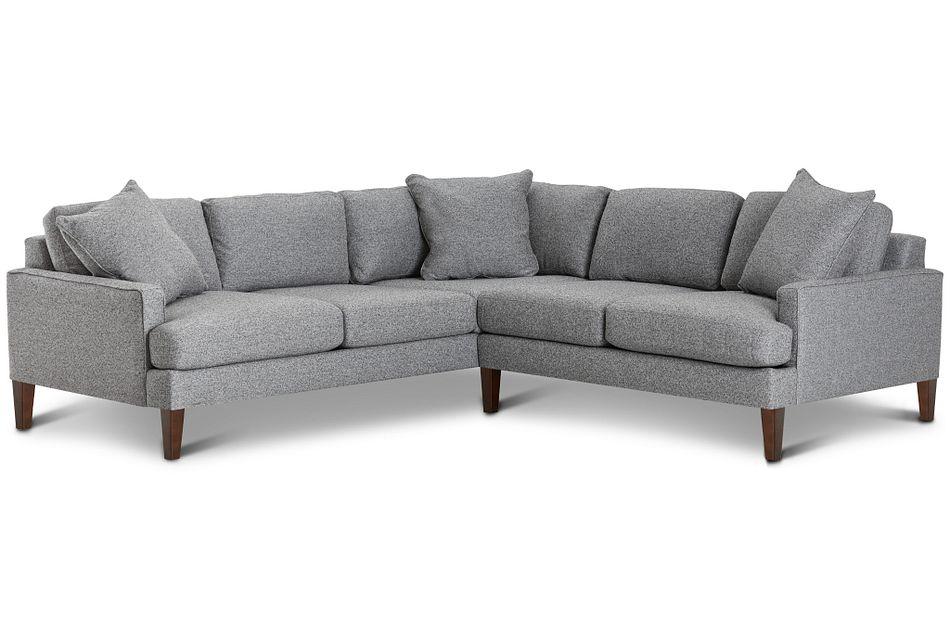 Morgan Dark Gray Fabric Small Right 2-arm Sectional W/ Wood Legs