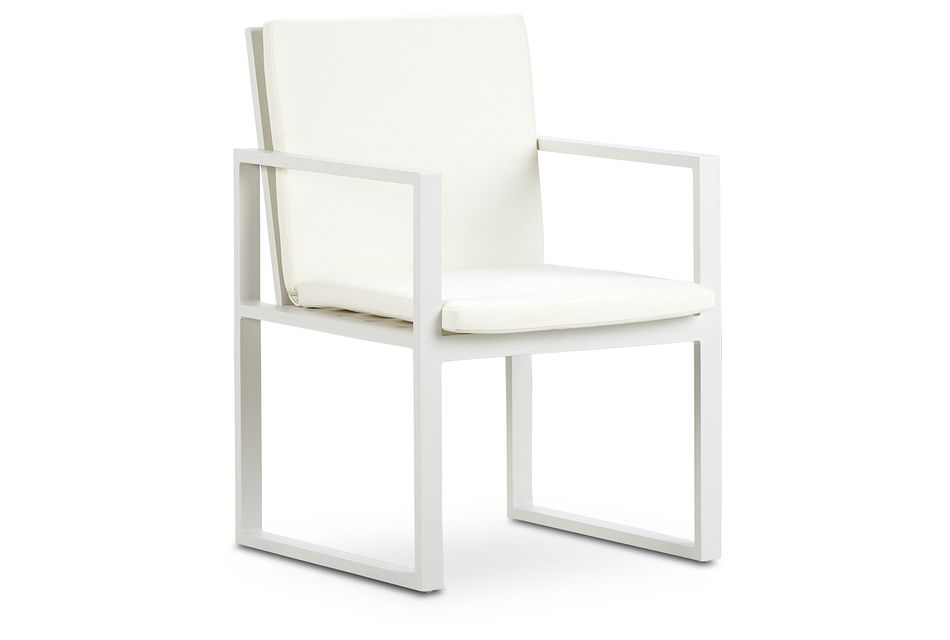Linear White Aluminum Arm Chair